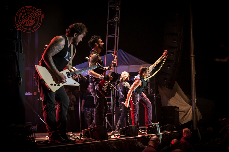 Hinder performing a live set during the Kansas City Throttle Fest as part of Michael Ballard and the Full Throttle Saloon experience.